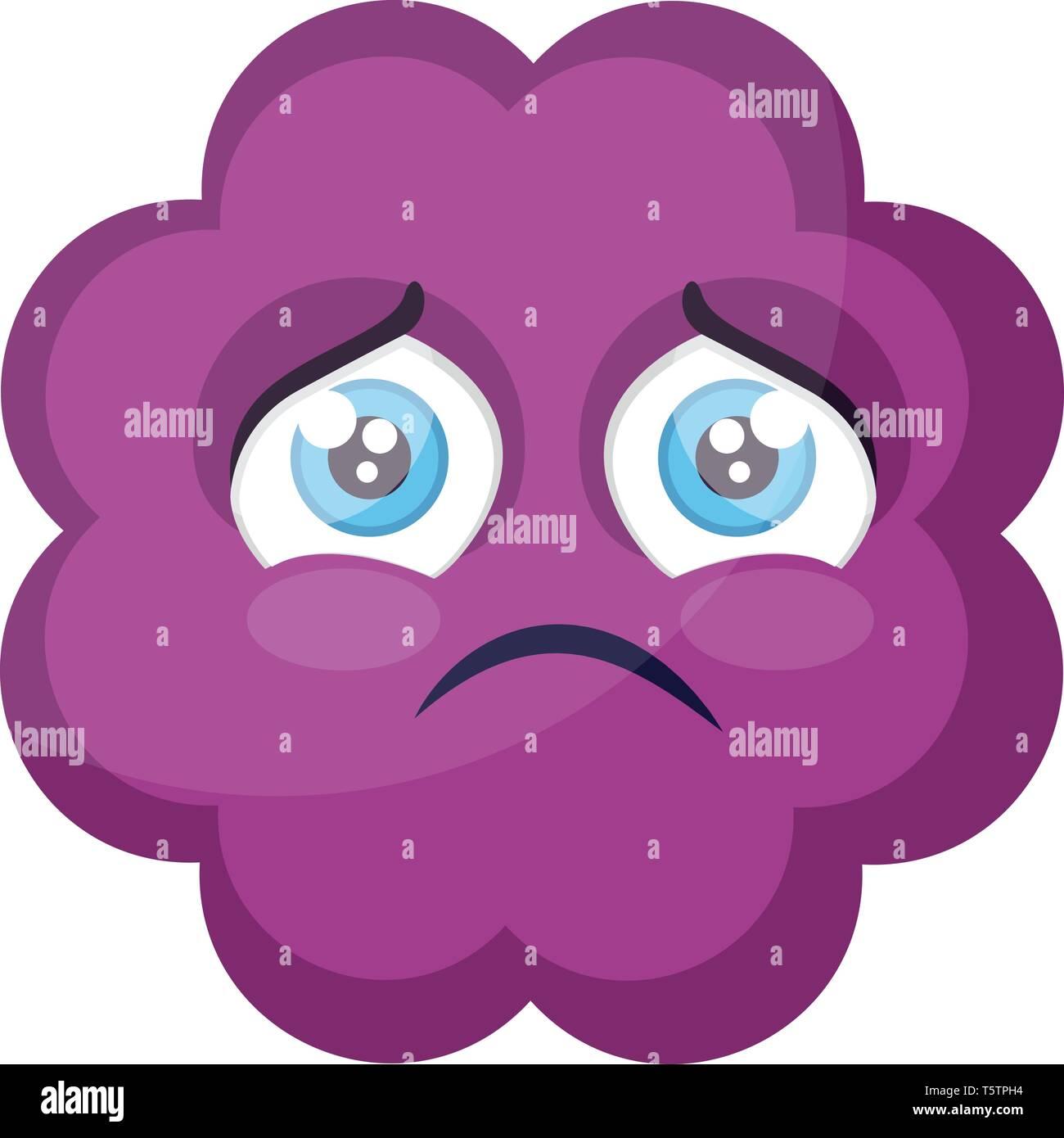 Sad purple cloud emoji face vector illustration on a white