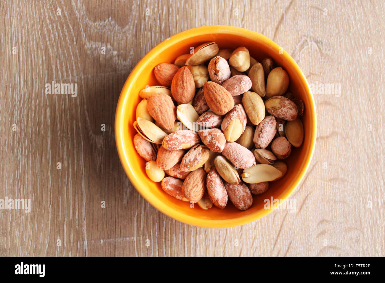 Mixed nuts top view - Stock Image