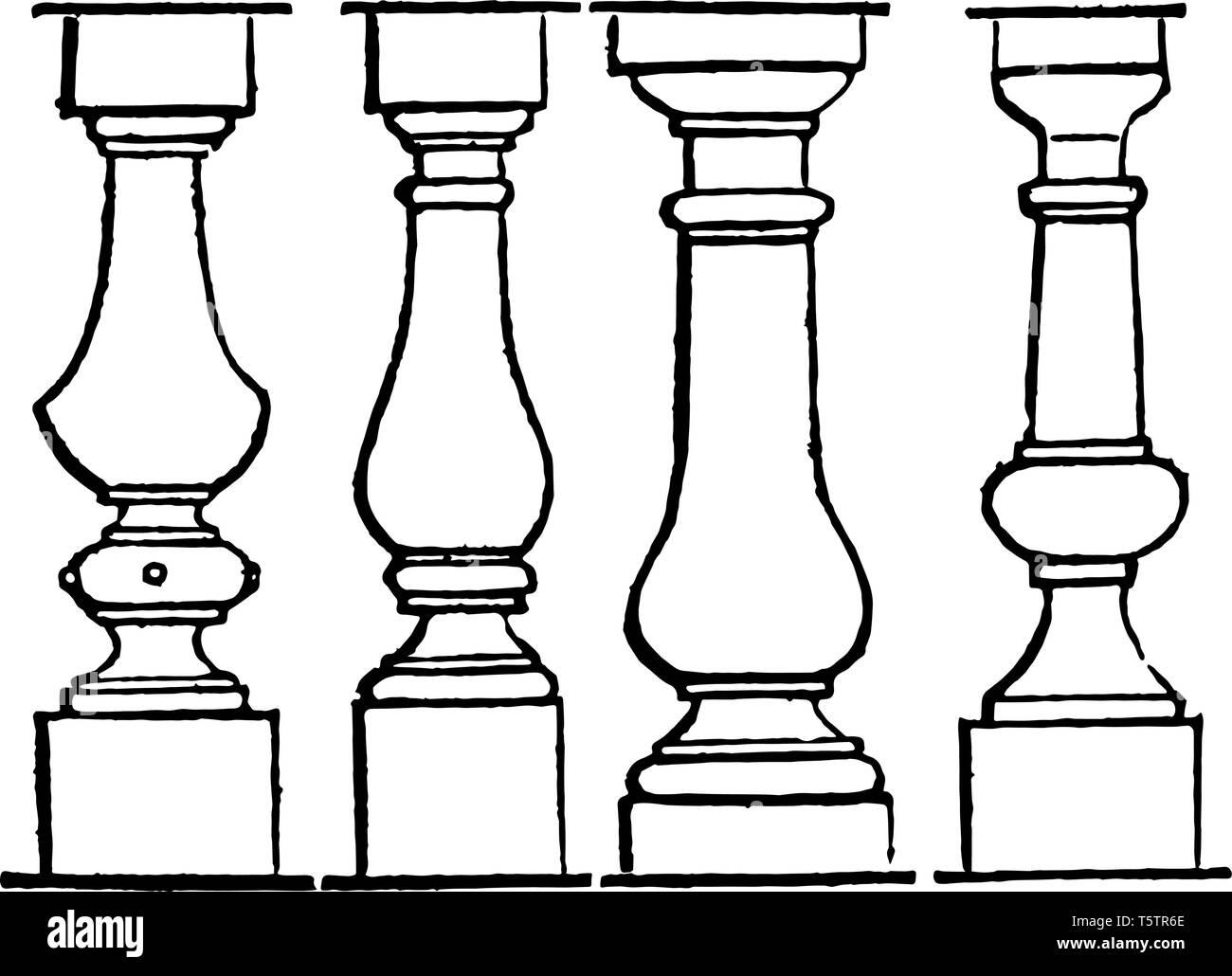 Baluster line short equal distances cornice coping swelling vintage line drawing or engraving illustration. - Stock Image