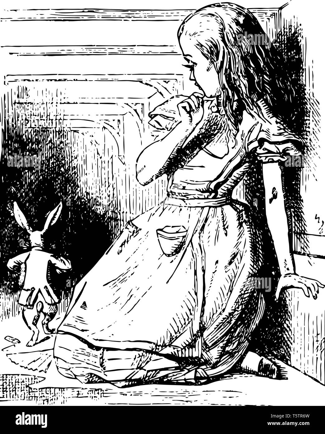 Alice Watches the White Rabbit Run Away this scene shows a little girl looking at running away rabbit vintage line drawing or engraving illustration Stock Vector