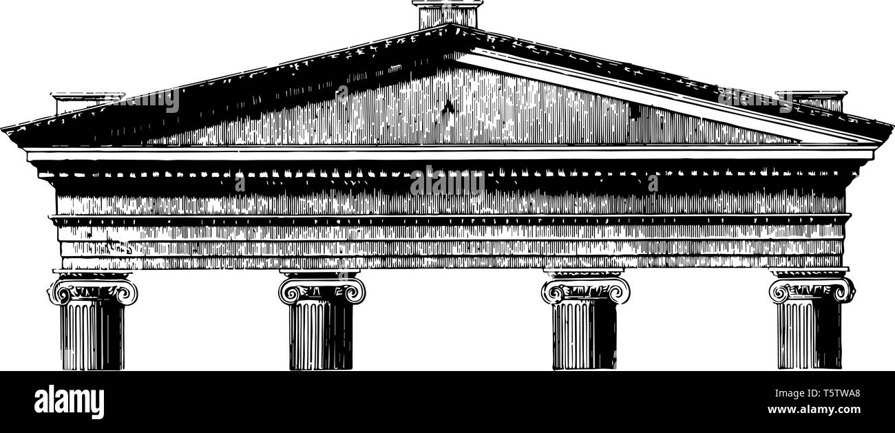 Acroterium is the pedestal on the angle or apex of a pediment architectural ornament placed on a flat base acroter or plinth vintage line drawing or e - Stock Vector