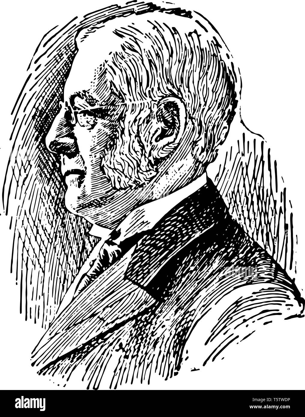 Charles William Eliot 1834 to 1926 he was an American educator and 21st president of Harvard University from 1869 to 1909 vintage line drawing or engr - Stock Vector