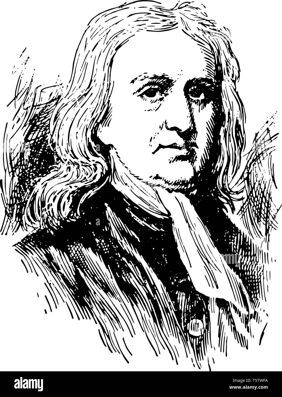 Sir Isaac Newton 1642 to 1727 he was an English mathematician astronomer and physicist who discovered the law of gravitation vintage line drawing or e - Stock Vector
