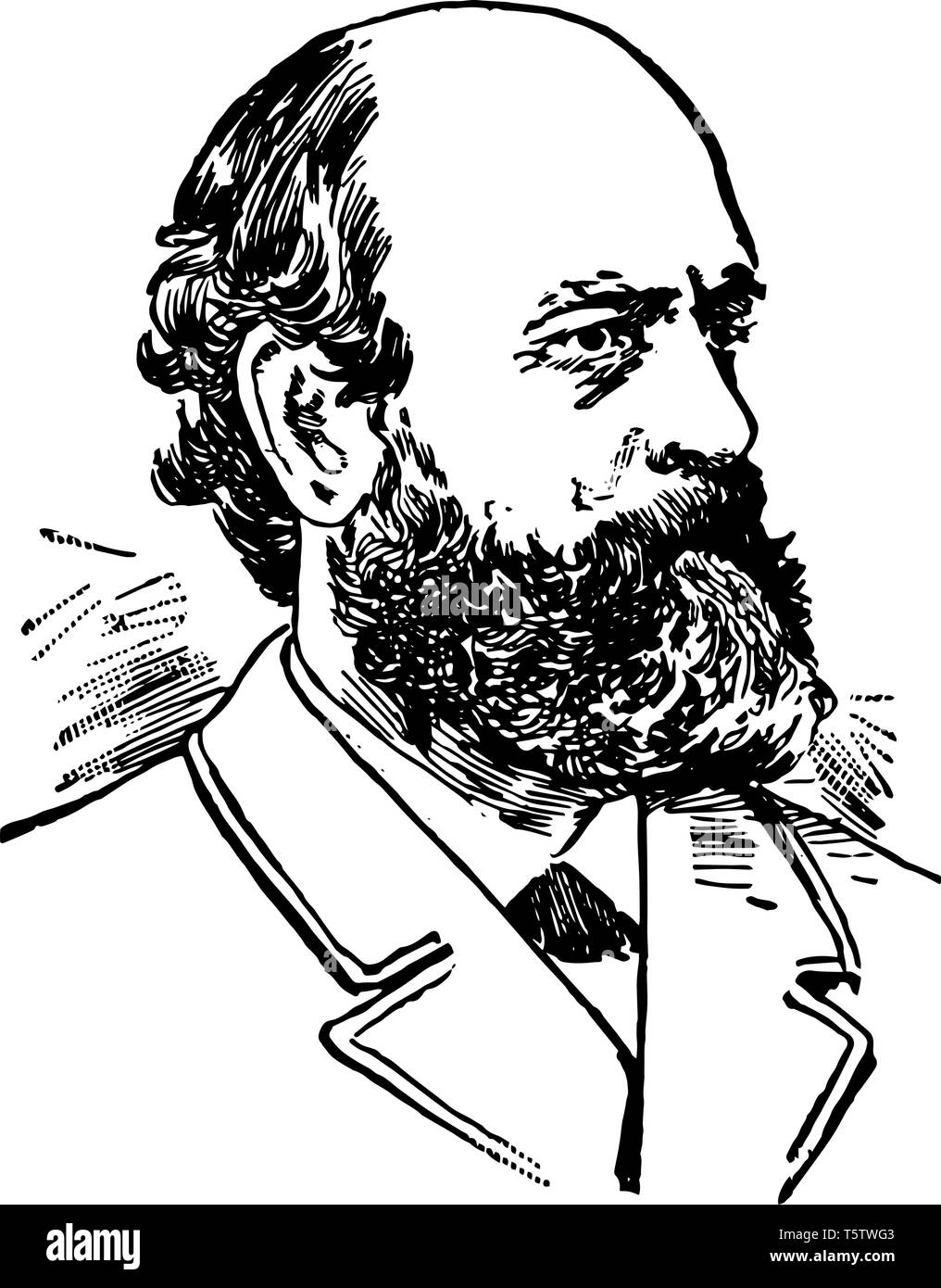 Henry George 1839 to 1897 he was an American political economist and journalist famous for his work Progress and Poverty in 1879 vintage line drawing  - Stock Vector