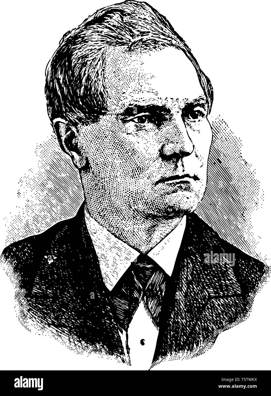 William Almon Wheeler 1836 to 1906 he was an American military commander politician and a cavalry general vintage line drawing or engraving illustrati - Stock Vector