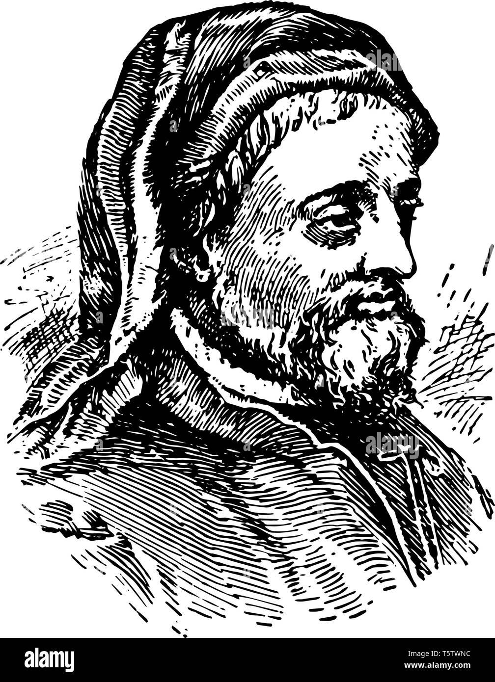 Geoffrey Chaucer vintage illustration - Stock Vector