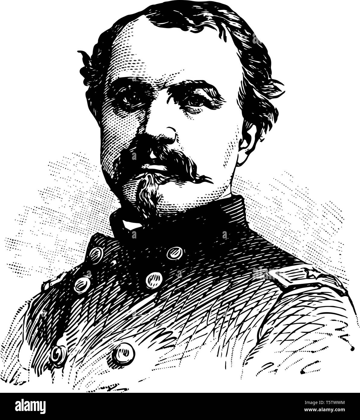 William Woods Averell 1832 to 1900 he was army officer of United States and cavalry general in the American civil war vintage line drawing or engravin - Stock Vector