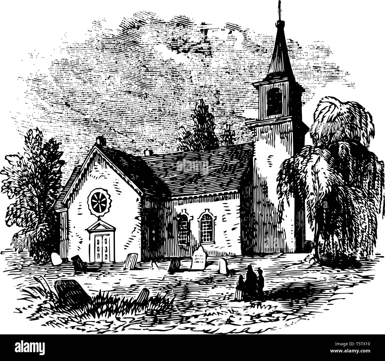 St Martin to in to the to Fields is an English Anglican church at the north to east corner of Trafalgar Square in the City of Westminster. It is dedic - Stock Vector