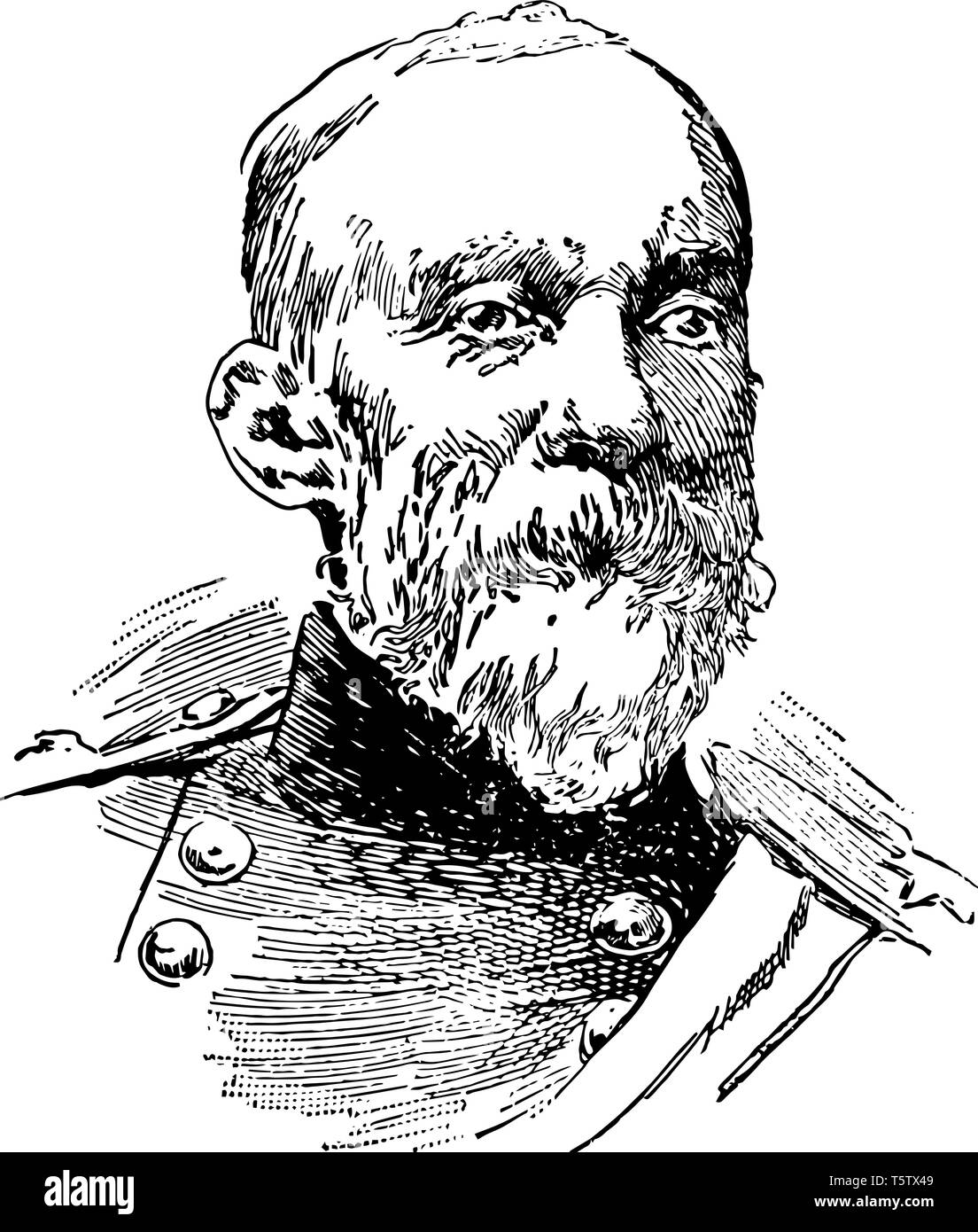 Joseph Wheeler 1836 to 1906 he was an American military commander politician and a cavalry general in the confederate states army vintage line drawing - Stock Vector