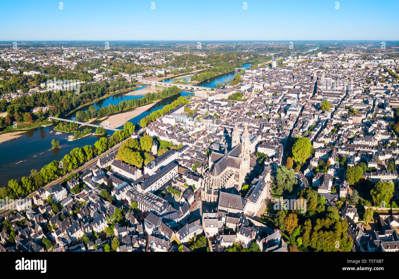 Tours aerial panoramic view. Tours is a city in the Loire valley of France - Stock Image