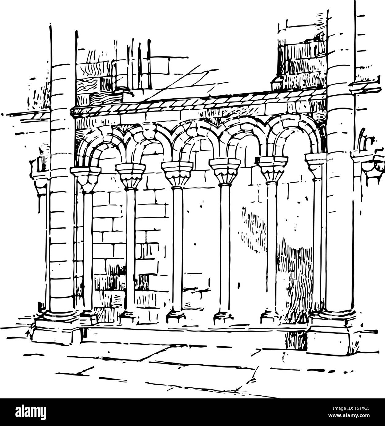 Arcature arcade of small dimensions balustrade little arches Cathedral of Petersborough vintage line drawing or engraving illustration. - Stock Vector