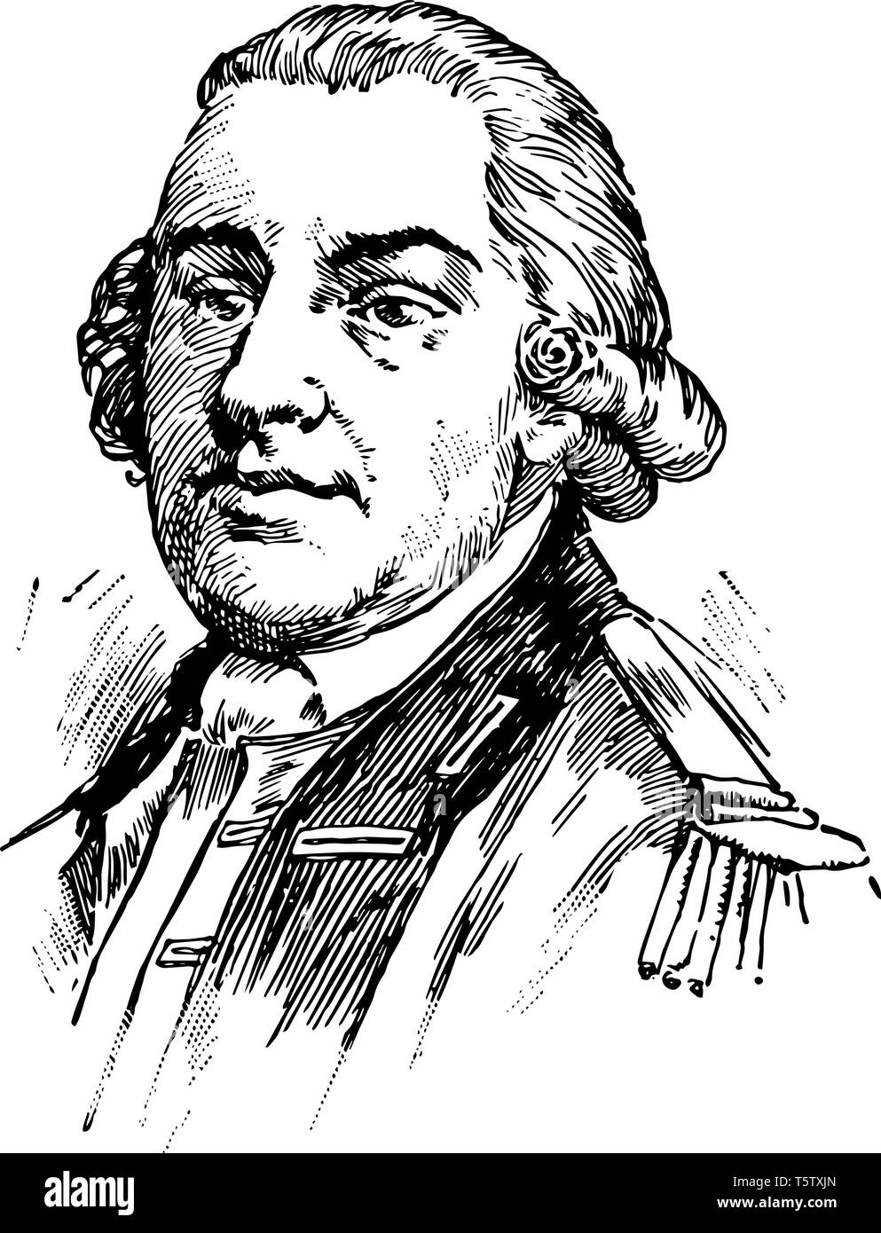 Thomas Gage 1719 to 1787 he was a British army officer and military commander famous for his many years of service in North America vintage line drawi - Stock Image