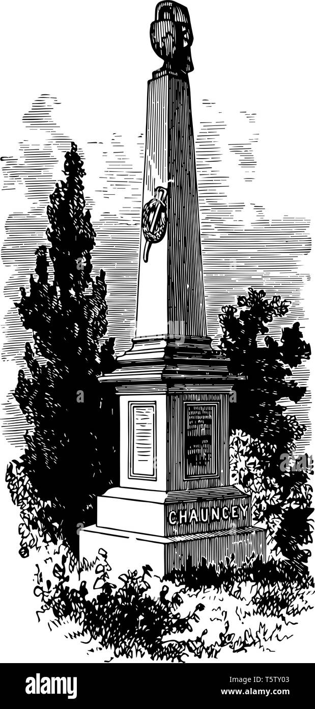 Monument of Isaac Chauncey he was an officer in the United States Navy vintage line drawing or engraving illustration - Stock Vector