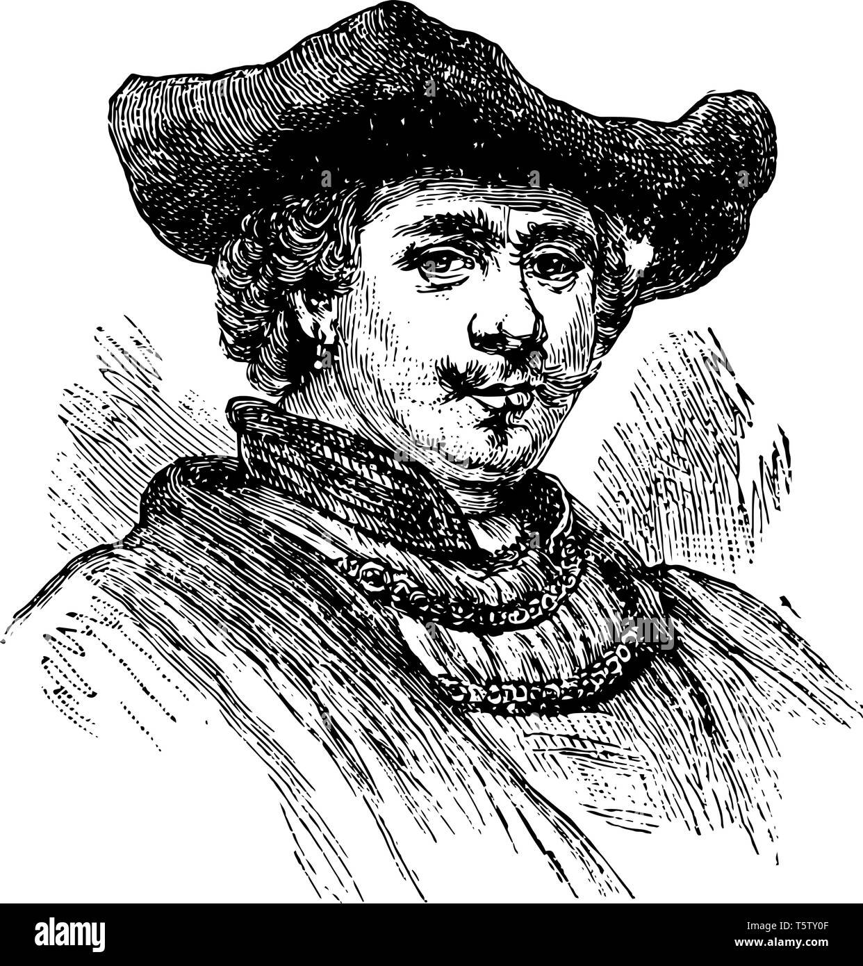 Rembrandt Van Ryn 1606 to 1669 he was a Dutch draughtsman painter and printmaker vintage line drawing or engraving illustration - Stock Vector