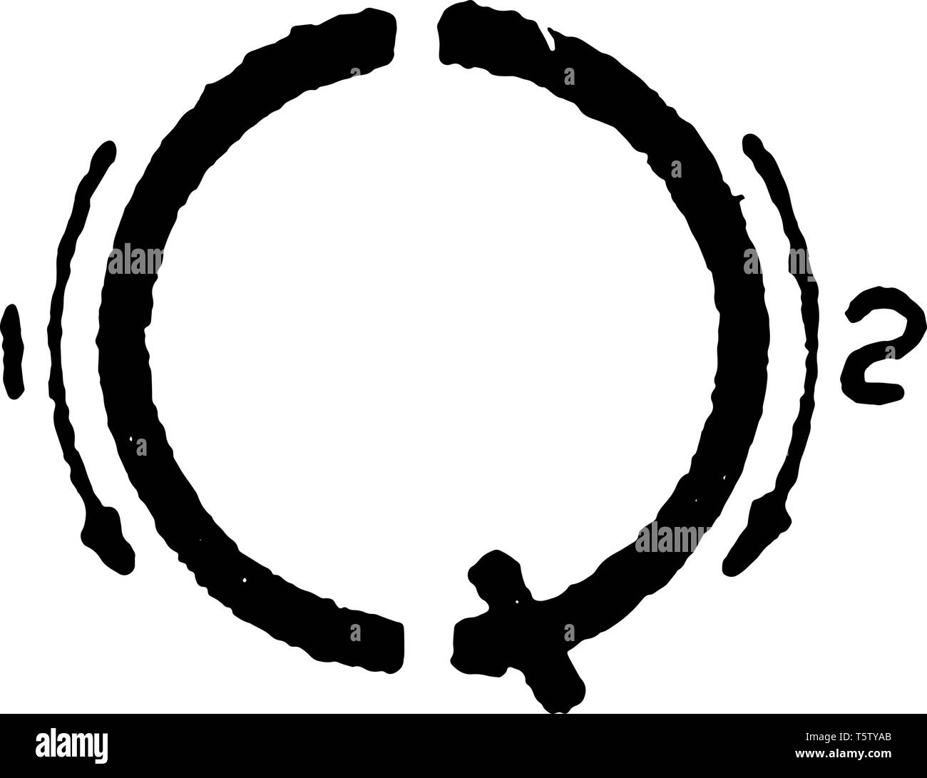 This is a picture of correct stroke technique for writing letter Q in commercial gothic, vintage line drawing or engraving illustration. Stock Vector