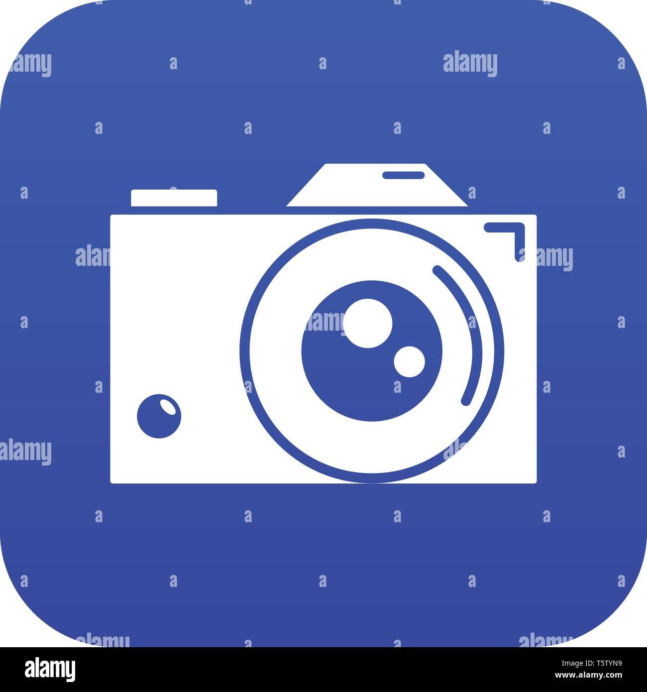Retro camera icon blue vector - Stock Image