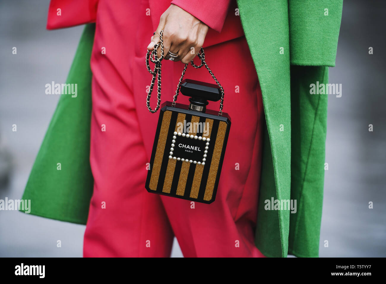 d97d21bf1faf Paris, France - March 5, 2019: Street style - Chanel purse and outfit