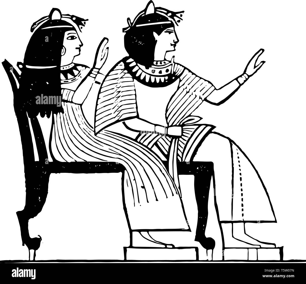 Egyptian Double Chair was a seat for two usually for guests, vintage line drawing or engraving illustration. - Stock Vector