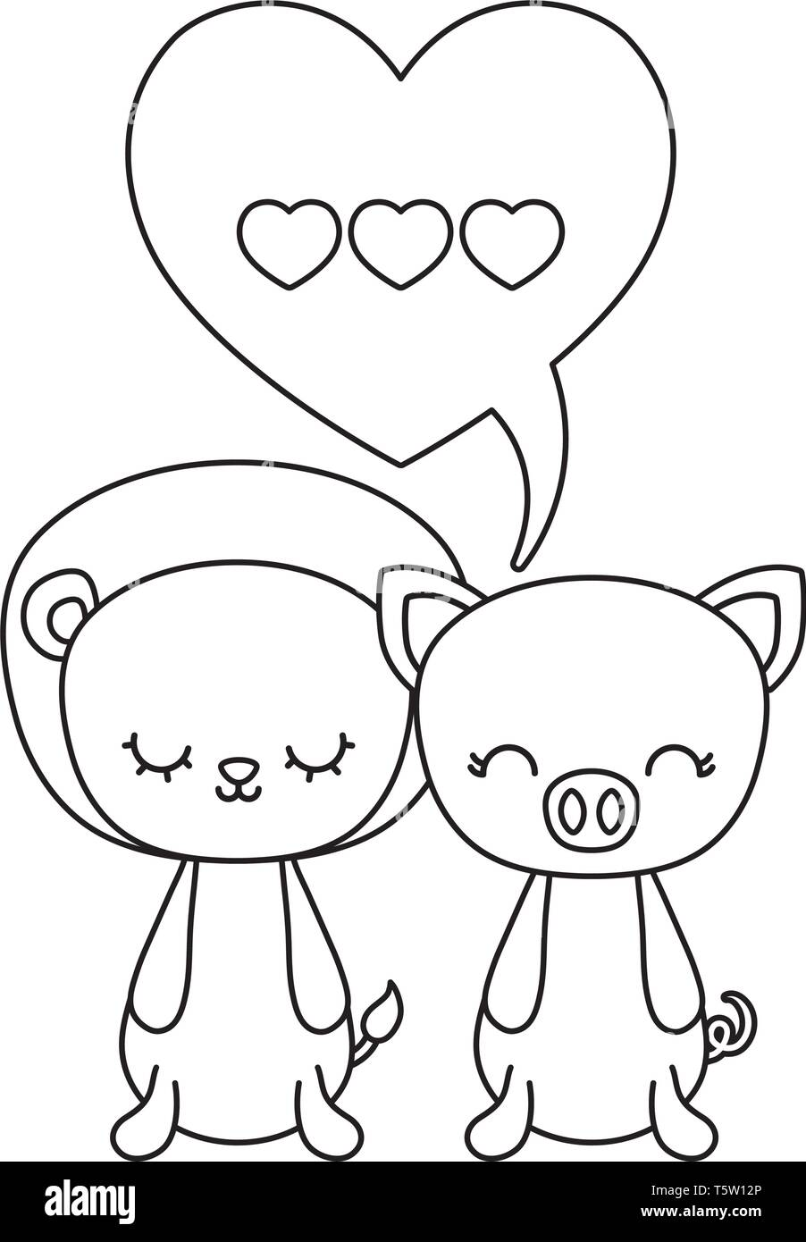 cute lion with piggy animals and speech bubble vector