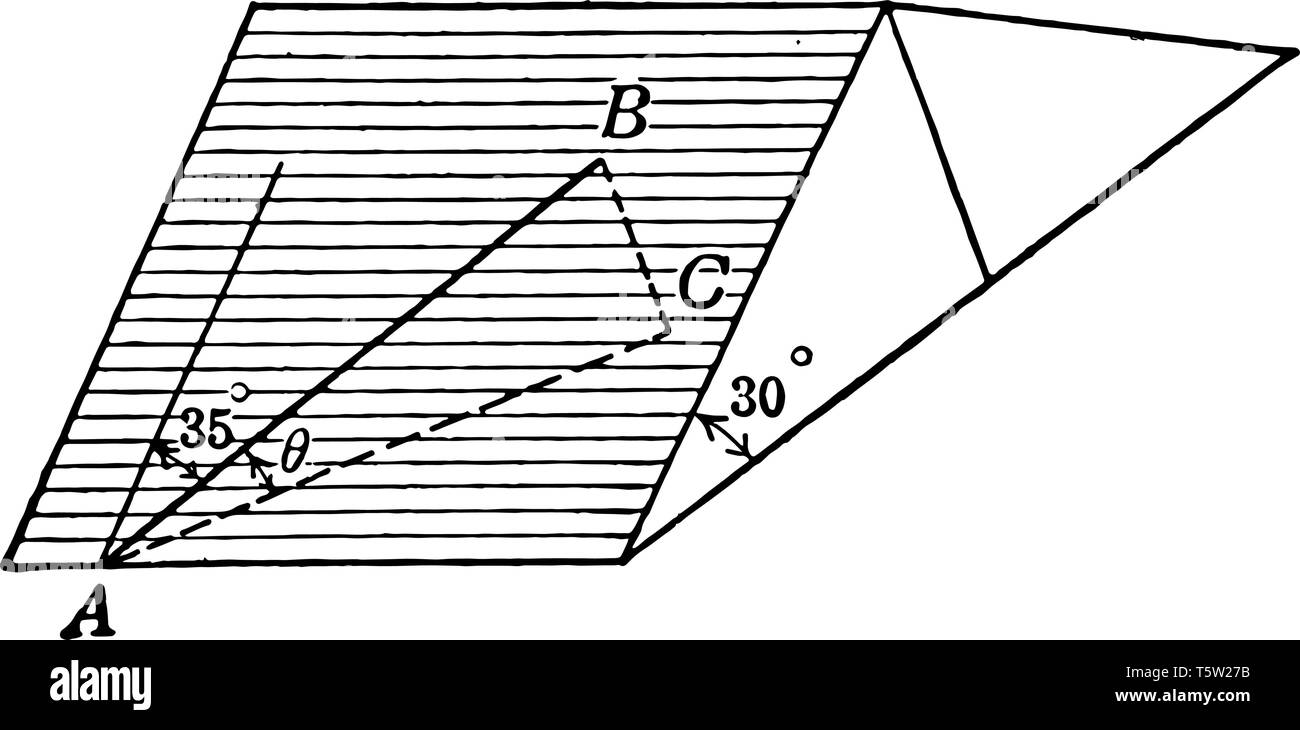 This diagram shows triangle, square. Triangle is 30 degrees. Triangle ABC and straight line is 35 degrees, vintage line drawing or engraving illustrat - Stock Vector