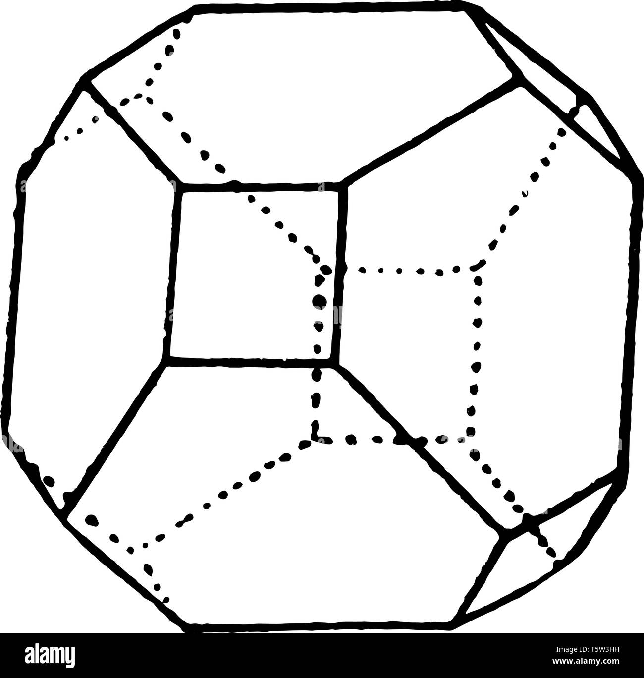 The combination of a hexahedron and shows an octahedron, vintage line drawing or engraving illustration. - Stock Image