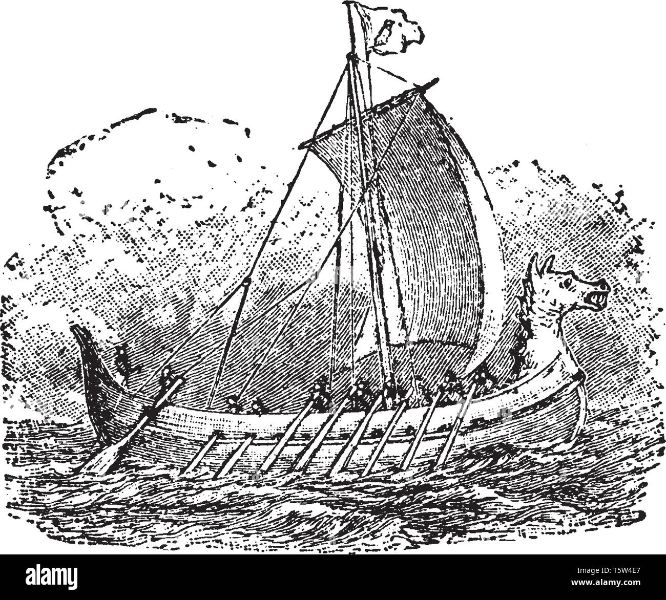 Norsemen is a name applied to the inhabitants of the coast regions of Scandinavia and North Germany, vintage line drawing or engraving illustration. - Stock Vector