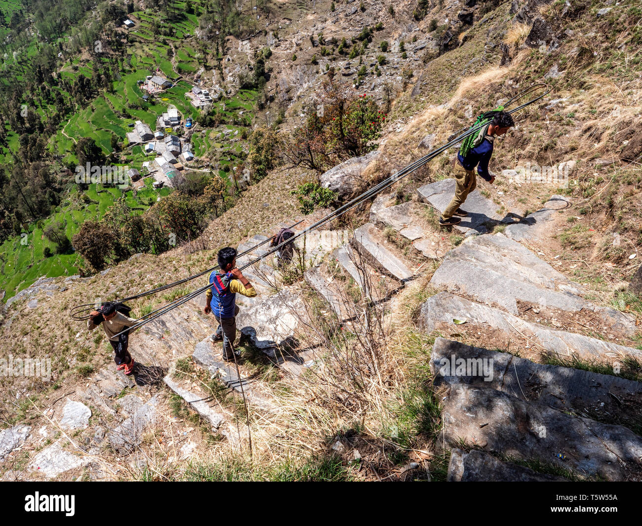 Young men carry four metre long steel reinforcing rods up the punishingly steep ' thousand steps ' path from Supi to Khaljuni Uttarakhand Hilamlayas - Stock Image