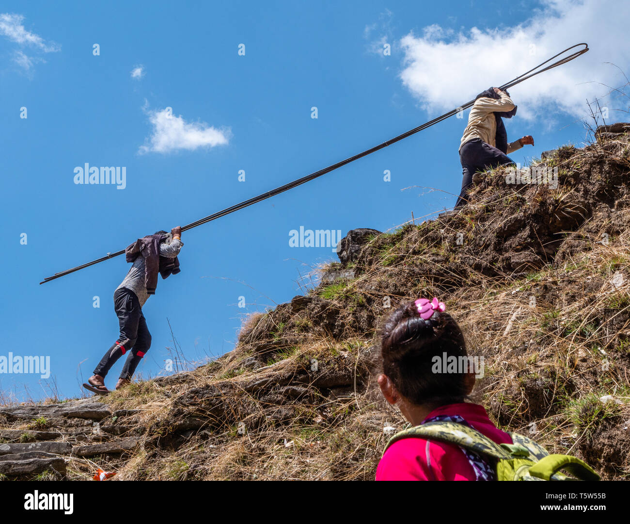 Young men carrying four metre long steel reinforcing rods up the punishingly steep ' thousand steps ' path from Supi to Khaljuni Uttarakhand Himalayas - Stock Image