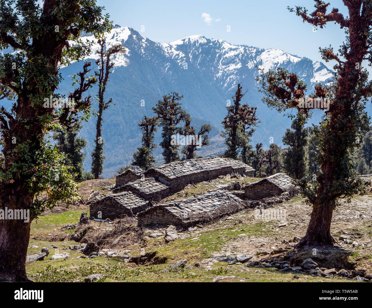 Stone shepherd's huts and animal shelters in high alpine pastures in the Himalayas above the Saryu Valley in Uttarakhand Northern India - Stock Image