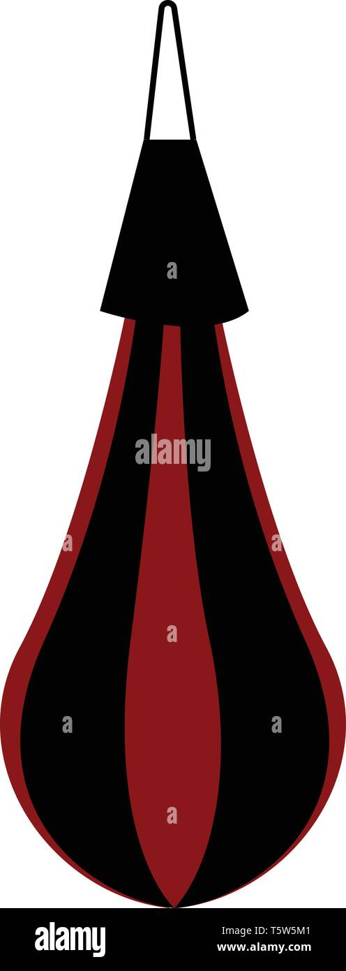 Red and black punching bag vector or color illustration - Stock Vector
