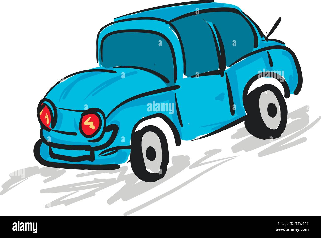 A blue car with red headlights, vector, color drawing or illustration. - Stock Image