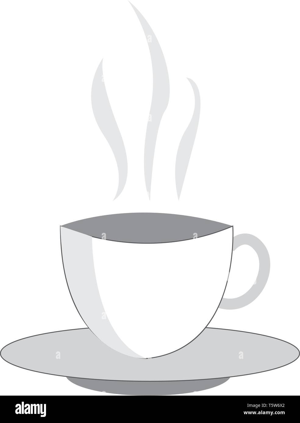 A Drawing Of A Set Of White Cup And Saucer Which Has Hot Liquid With Steam Coming Up Vector Color Drawing Or Illustration Stock Vector Image Art Alamy