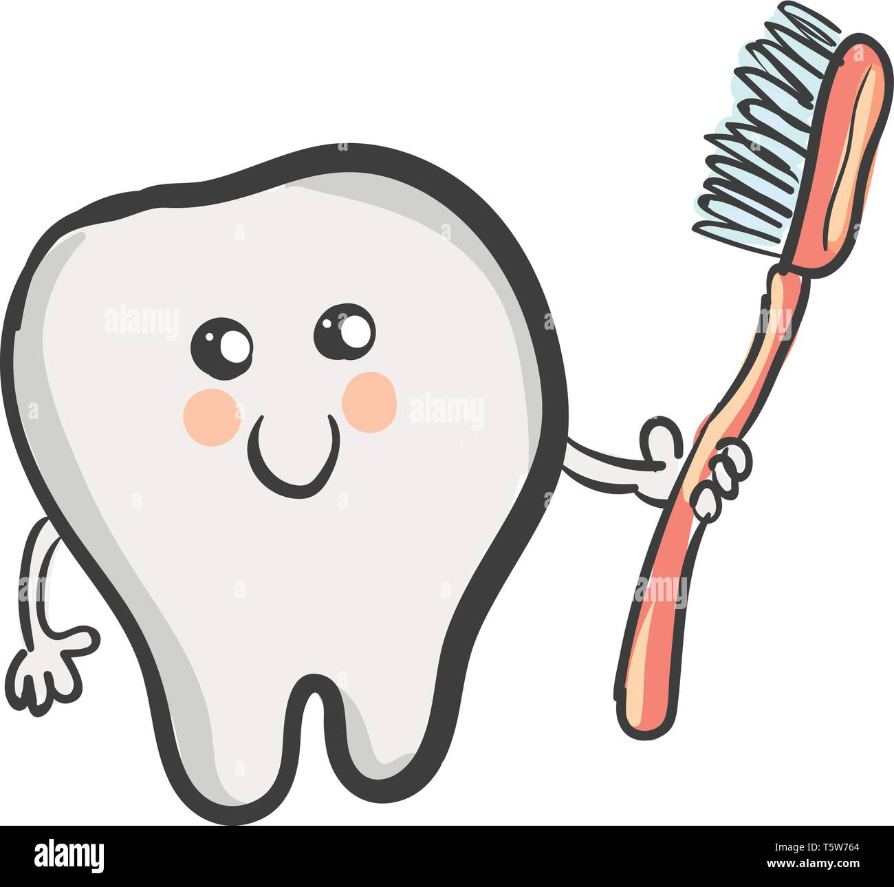 A Cartoon Tooth That Looks So Cute With A Smiley Face Holds A Red Toothbrush With Blue Bristles Vector Color Drawing Or Illustration Stock Vector Image Art Alamy
