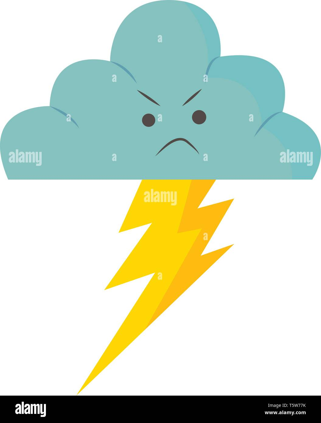 An angry rain cloud with thunder flashing from it vector