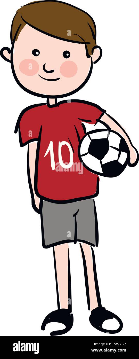 A boy playing football wearing a number 10 shirt grey shorts and soccer shoes vector color drawing or illustration - Stock Vector