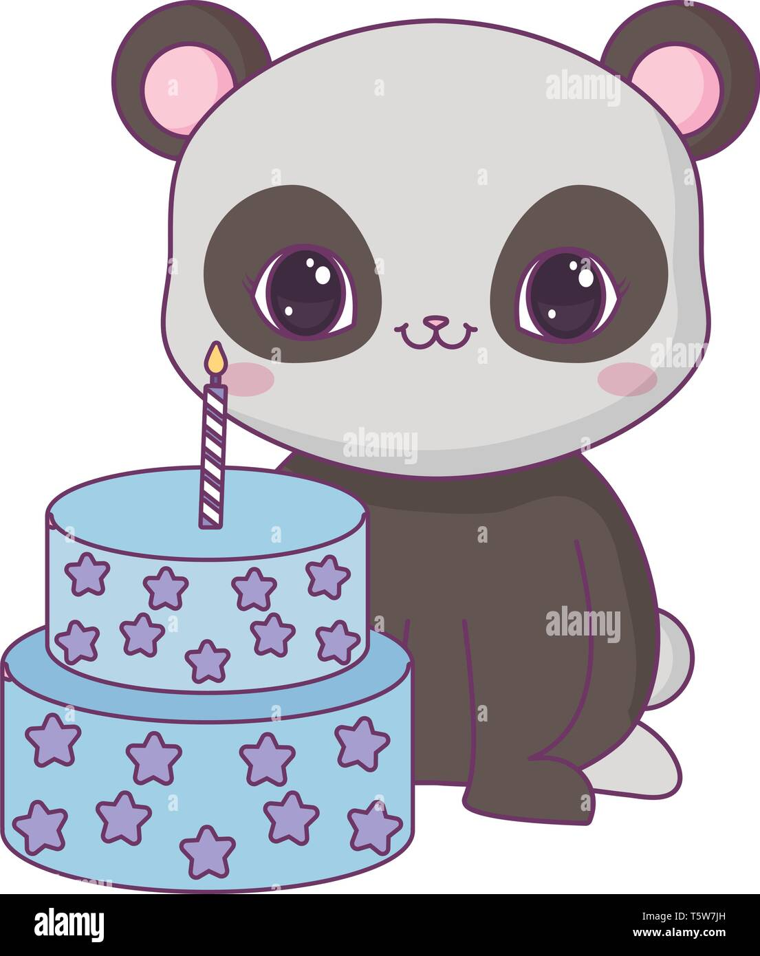 Awe Inspiring Panda Bear Animal With Cake Of Birthday Vector Illustration Design Funny Birthday Cards Online Inifofree Goldxyz