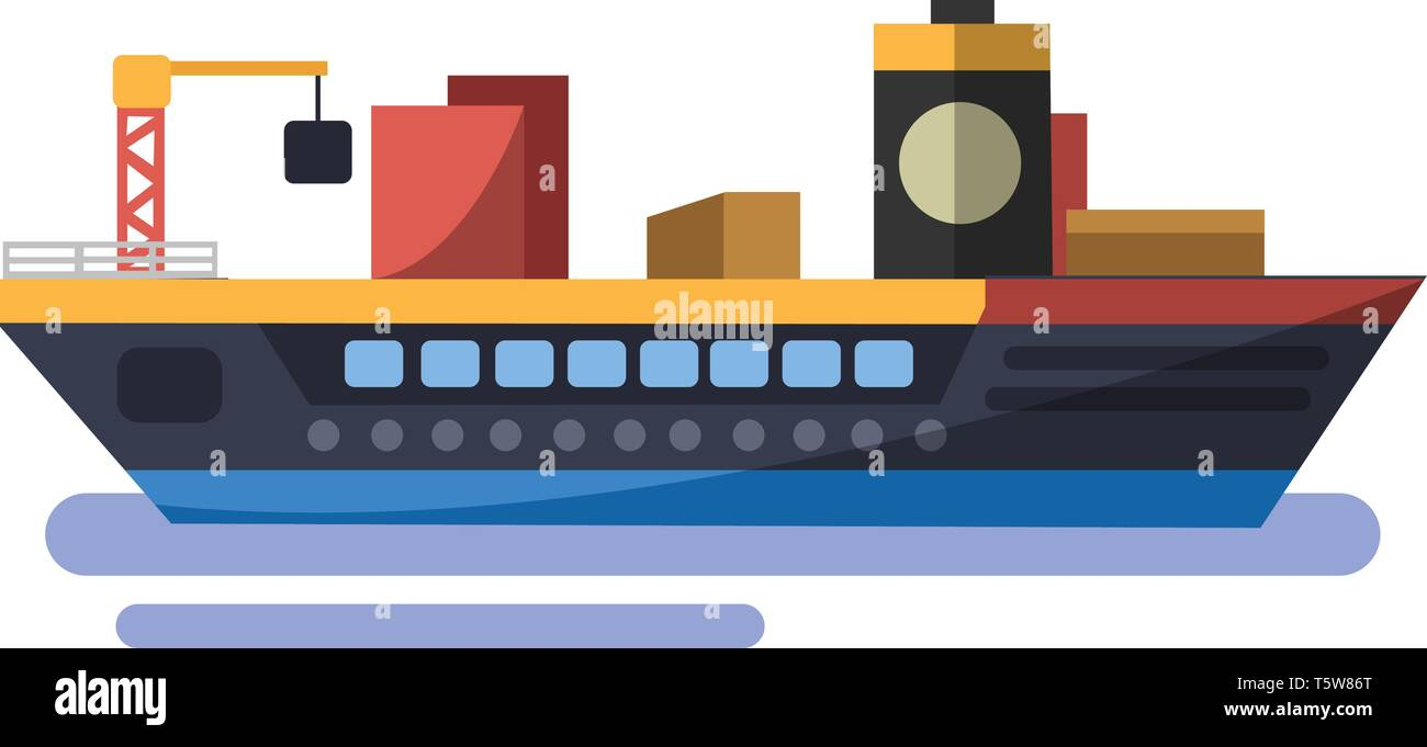 Colorfull minimalistic vector illustration of trasport ship on white background. Stock Vector