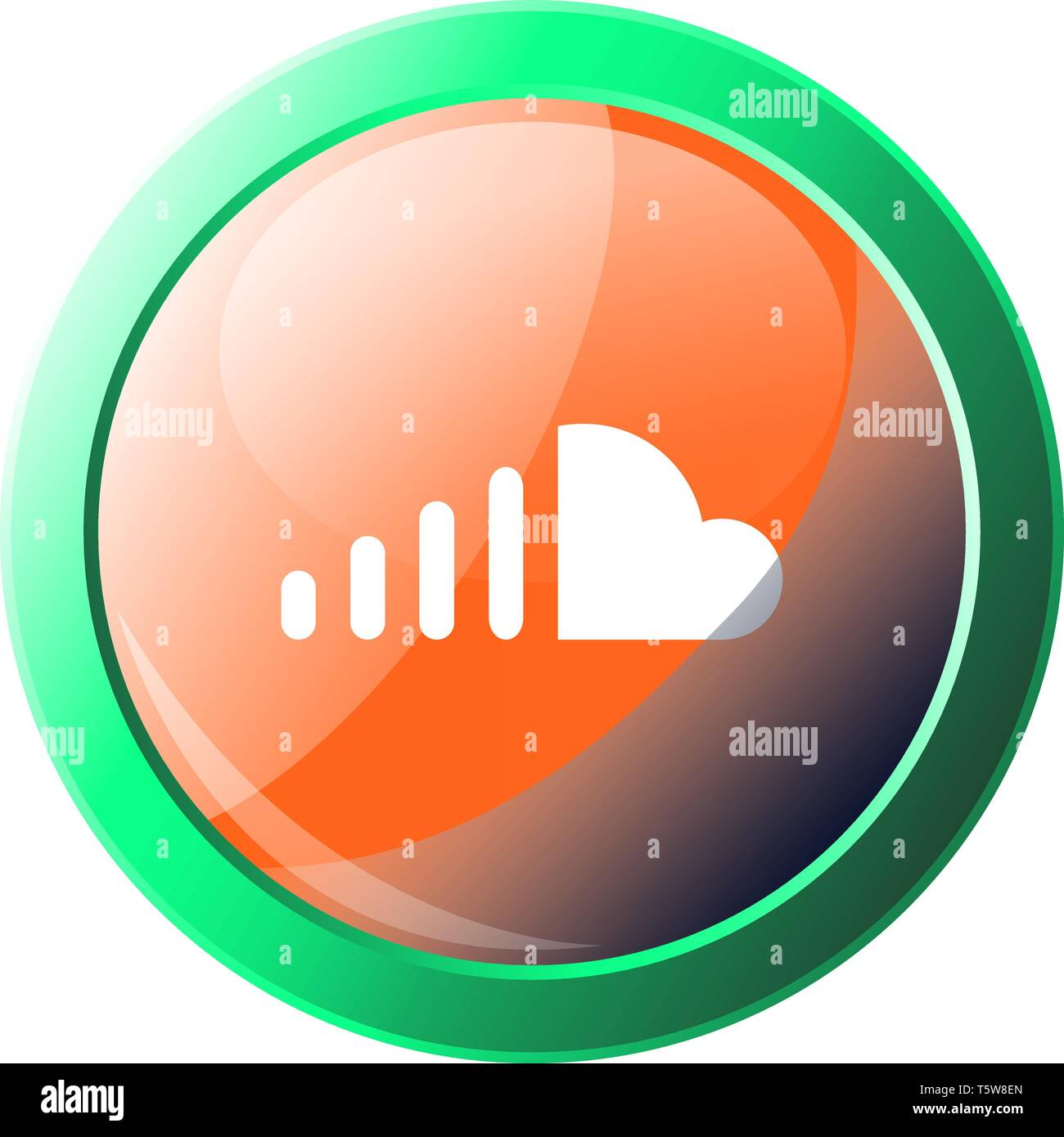 SoundCloud sign with green frame vector icon illustration on