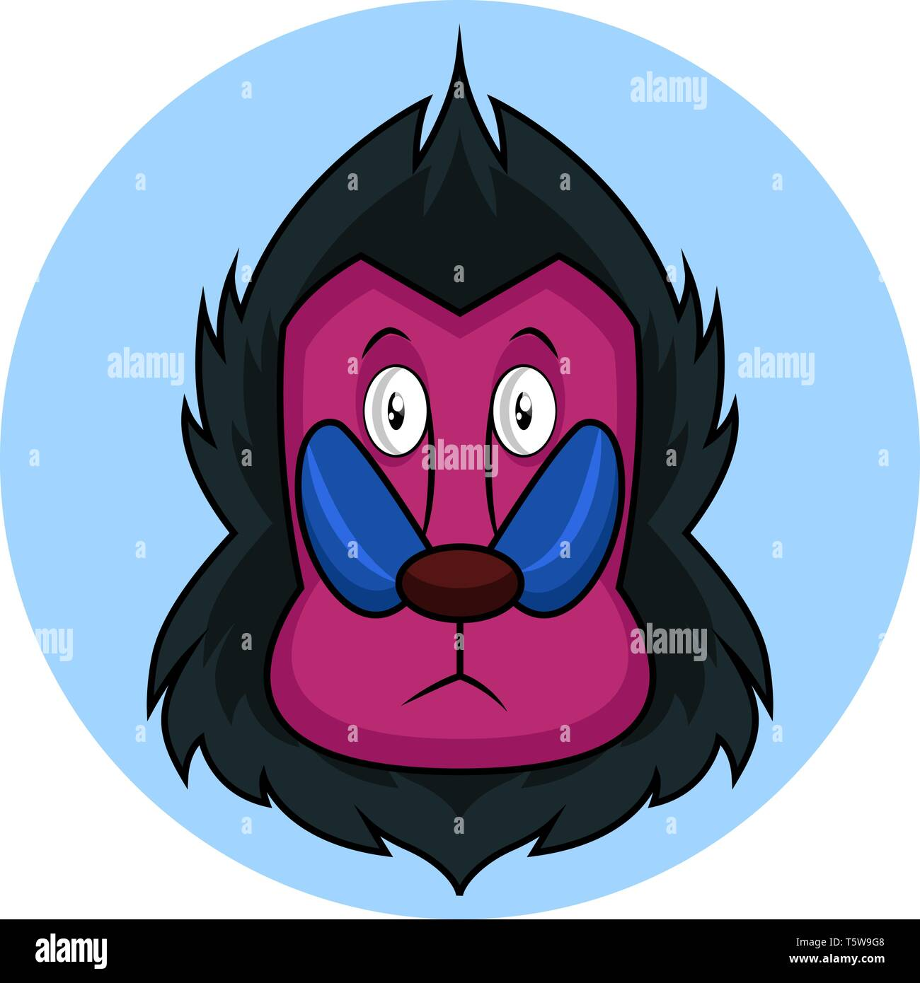 Cartoon monkey with pink face vector illustration on white background - Stock Vector