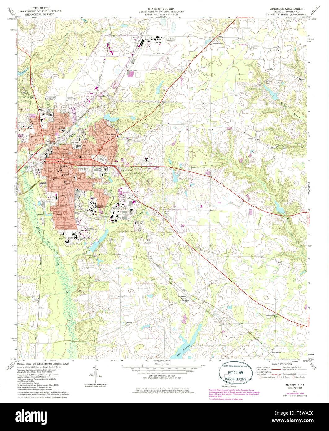Usgs Topo Map Georgia Ga Americus 244908 1973 24000