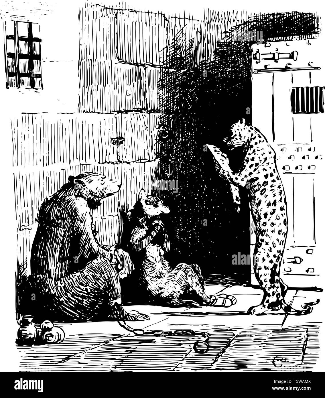 Reynard the Fox: Firapell the Leopard this scene shows a bear and wolf sitting nearby and listening to leopard standing in front of them Leopard readi - Stock Image