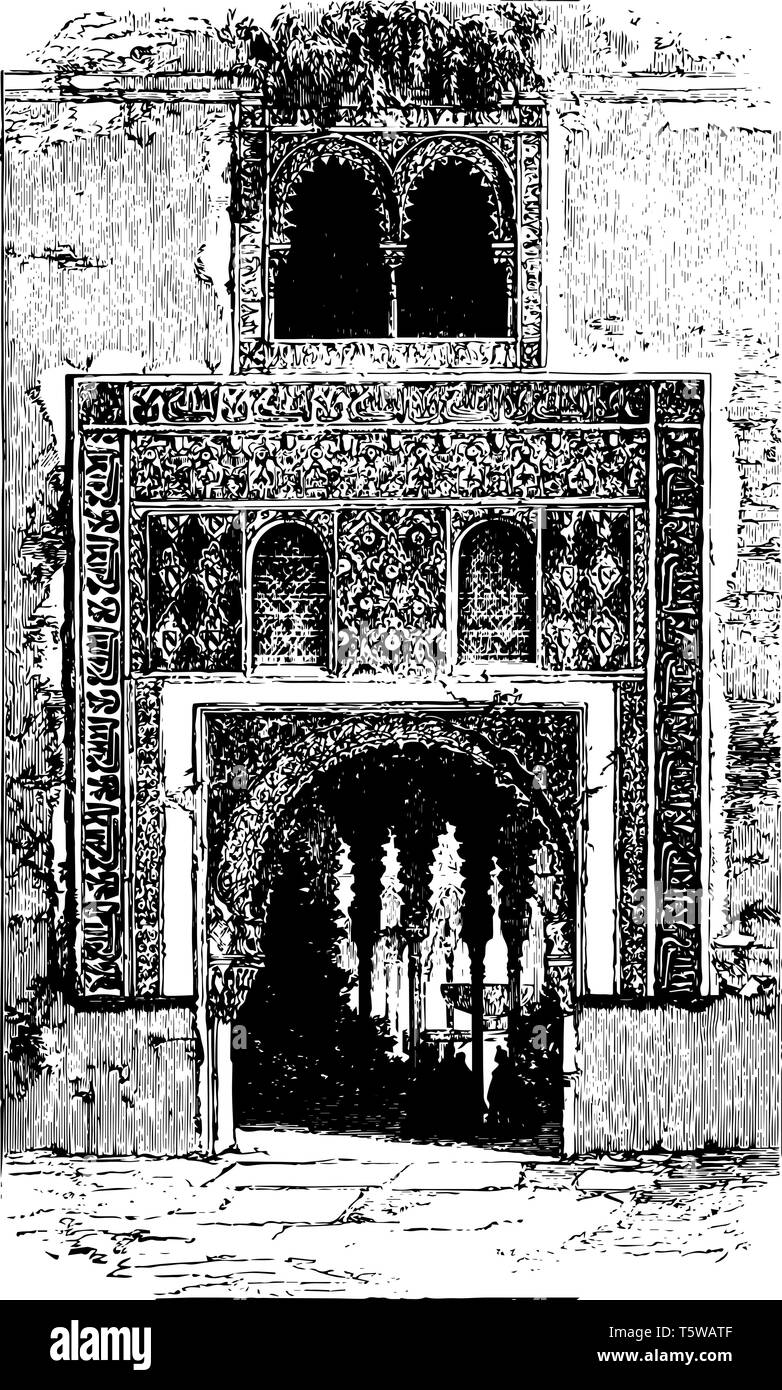 Alhambra the red fortress a palace and fortress the Moorish rulers in Granada vintage line drawing or engraving illustration. - Stock Vector