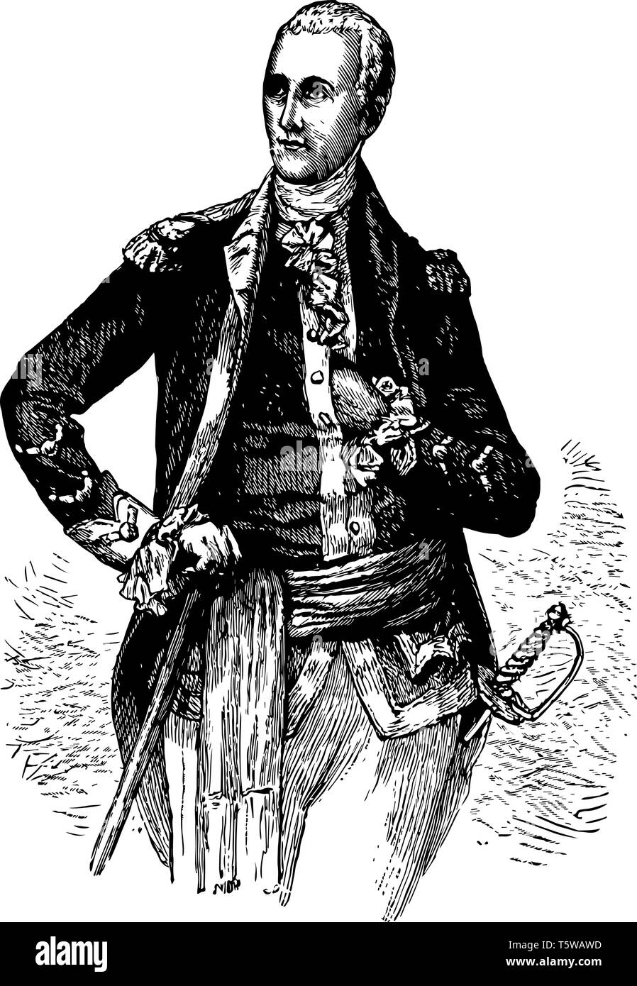 General Lafayette 1757 to 1834 he was a French aristocrat and general who fought in the American revolutionary war vintage line drawing or engraving i - Stock Vector