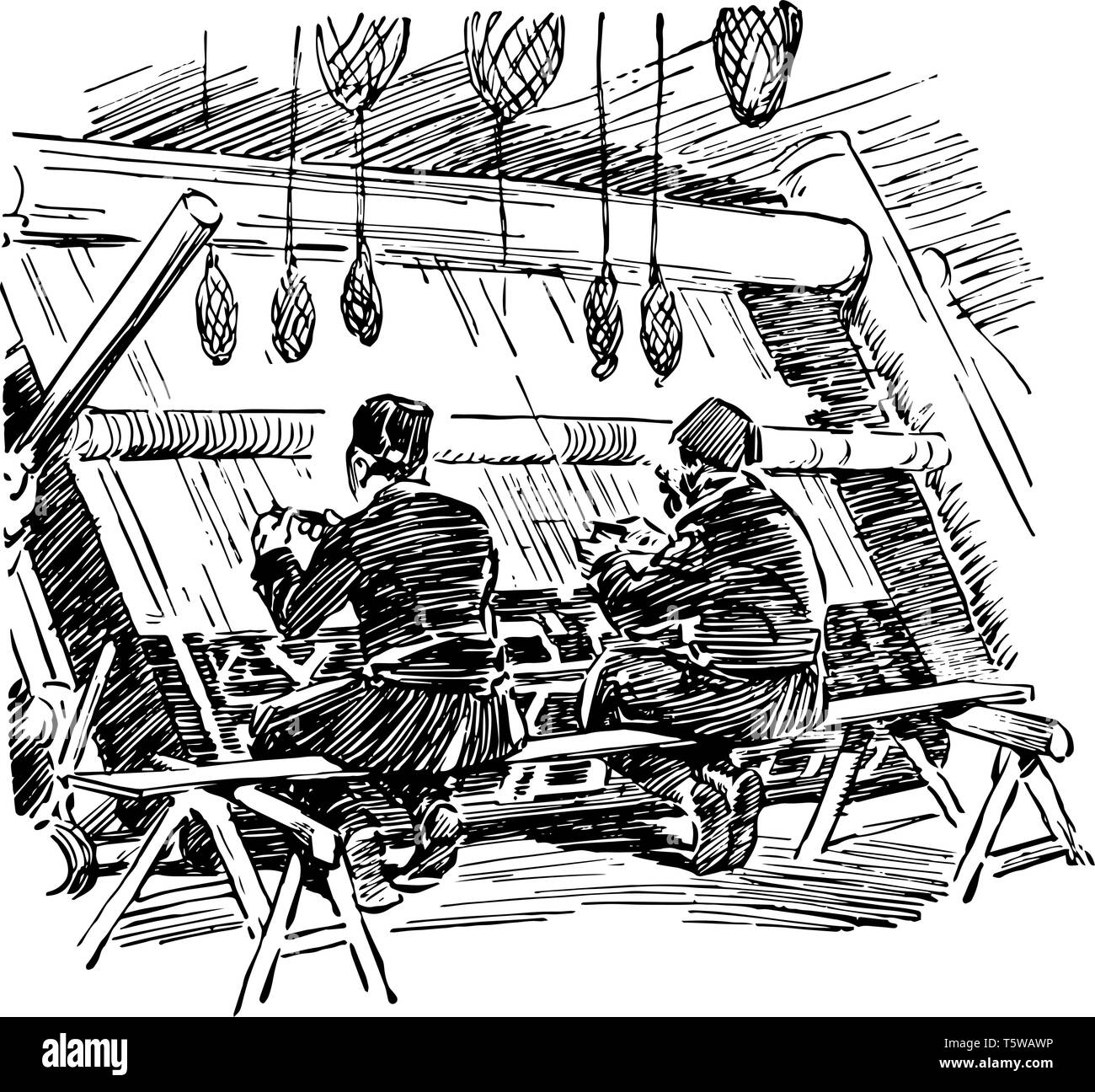 Turkish Rug Weavers is a two Turkish men weaving carpet it is a traditional fashion vintage line drawing or engraving. - Stock Vector