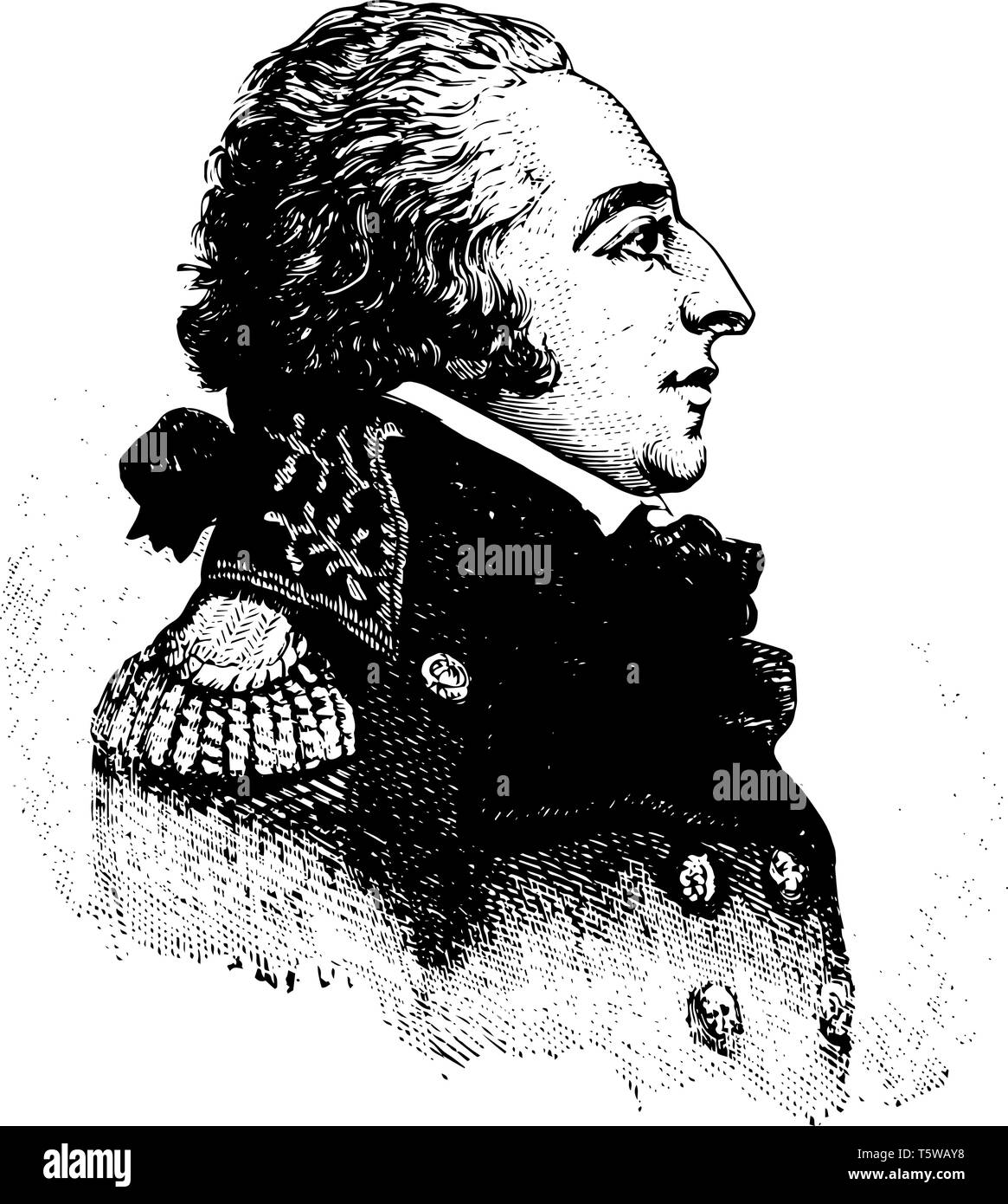 Edmond Charles Genest 1763 to 1834 he was the first French ambassador to the United States during the French revolution vintage line drawing or engrav - Stock Vector
