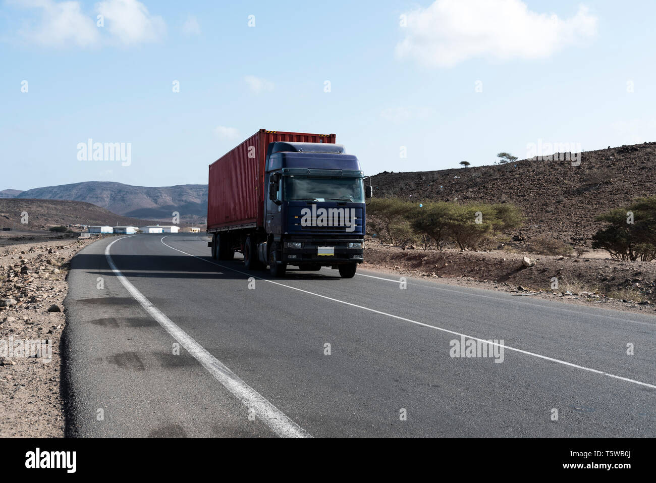 Container truck on Djibouti National Highway - Stock Image