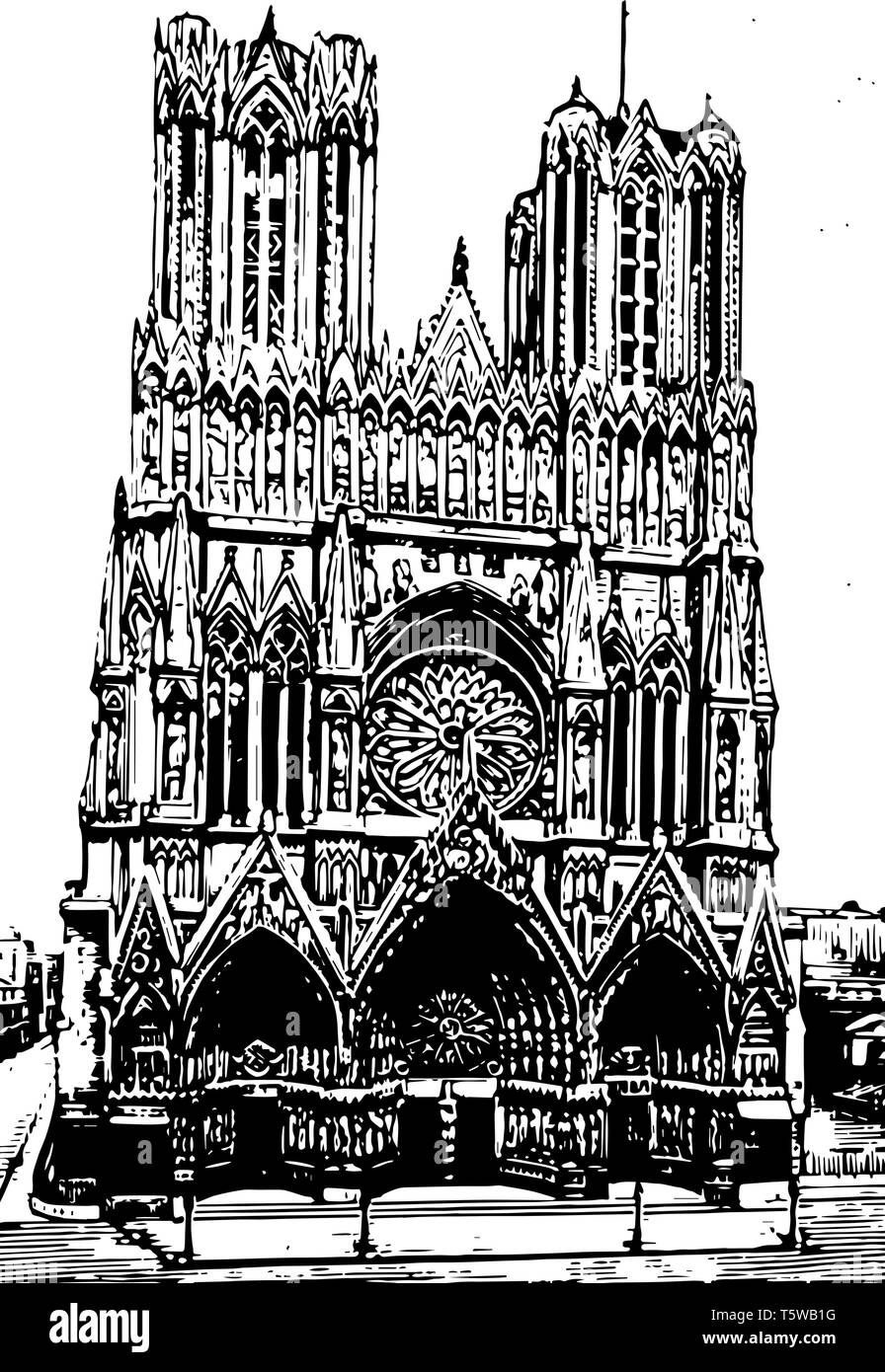 Reims Cathedral Grand East region east to northeast of Paris city of Reims proper vintage line drawing or engraving illustration. - Stock Vector