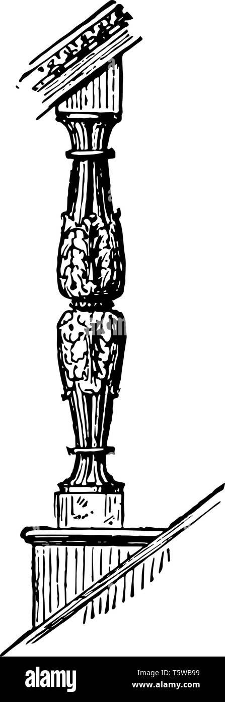 Baluster truss decorative design coping vintage line drawing or engraving illustration. - Stock Image
