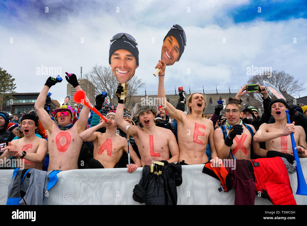 Fans of Canada's Alex Harvey after Harvey finished second in the men's 15-k World Cup cross country ski race classic in Québec City. - Stock Image