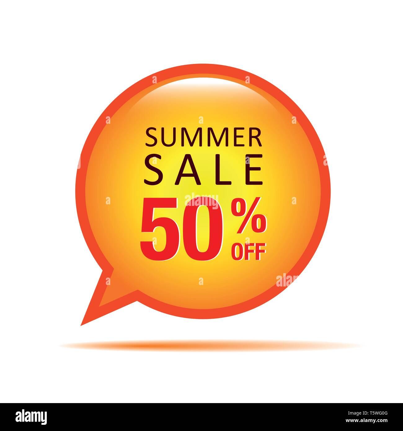 summer sale speach bubble 50 percent off vector illustration EPS10 - Stock Image